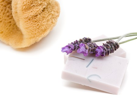 Handmade lavender soap with lavender over white background photo