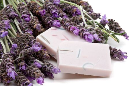 home made: Handmade lavender soap with lavender over white background