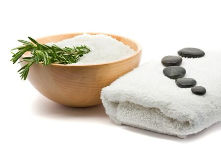 pebblestone: Spa concept of aromatherapy with salt and rosemary Stock Photo