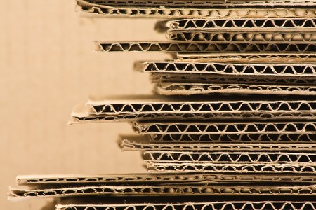carton: Close up de apilados cart�n reciclado marr�n  Foto de archivo
