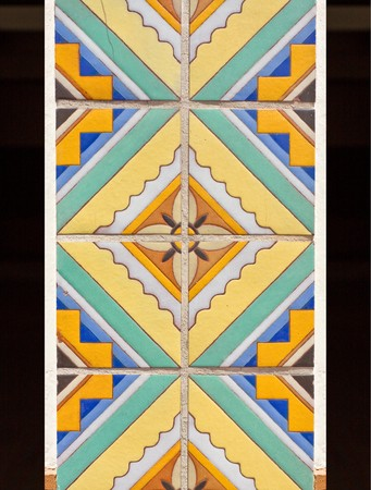 Beautiful ceramic tile mosaic with flower pattern photo