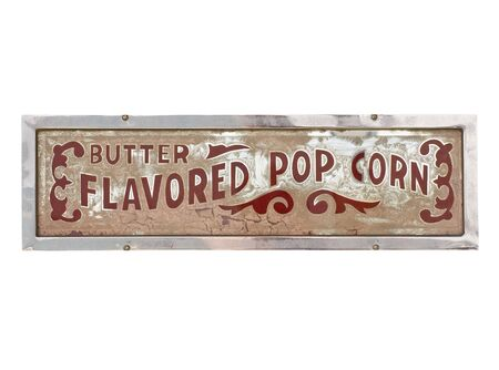 Vintage metal popcorn sign isolated on white background Stock Photo - 7196419