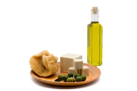 Handmade olive oil soap over white background photo