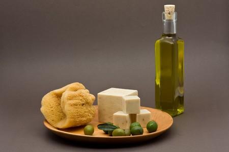 Handmade olive oil soap over black background photo