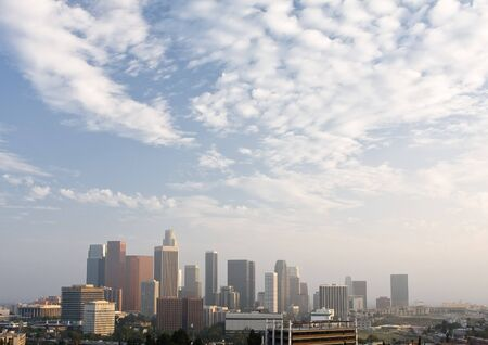los: Panorama of downtown Los Angeles with cloudy sky