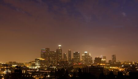 Night time panorama of downtown Los Angeles photo