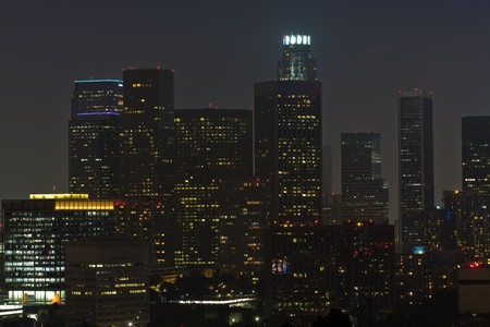Night time view of downtown Los Angeles photo