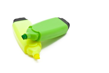 Green and yellow open text marker over white background photo
