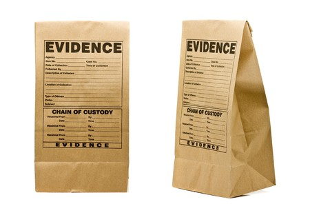 gather: Paper evidence bag front and side isolated on white background