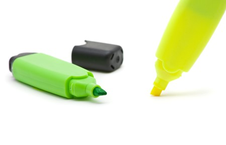 Green and yellow open text marker over white background Stock Photo - 7614993