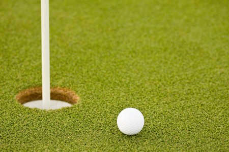 Golf ball on green with copy space Stock Photo - 7848997