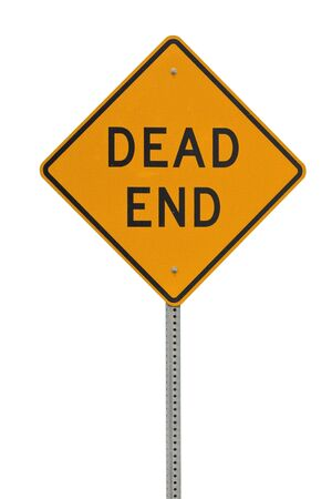 Dead end traffic sign isolated on white background photo