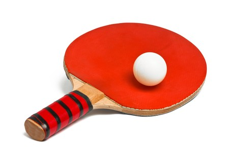 tischtennis: Table Tennis Racket and Ball over white background