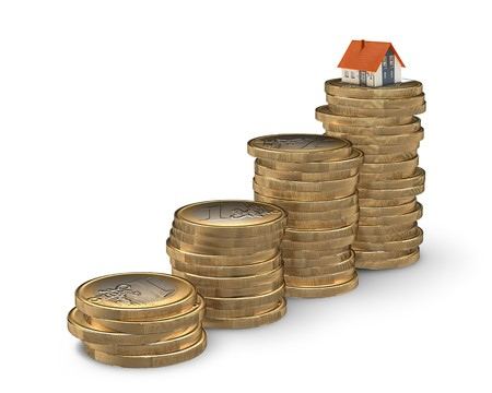 mortgaging: Stairway from coins leading to home - mortgaging concept