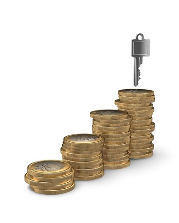 mortgaging: Stairway of coins leading to key to your home - home owning or financing concept Stock Photo