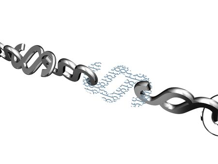linkage: Chain of paragraph signs with digital linkage - internet law or rights management concept