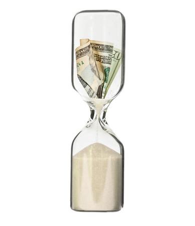 reloj de arena: Billete de d�lar en hora glass - recesi�n o concepto de p�rdidas financieras