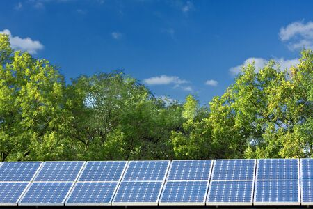 Solar panels with trees and blue sky Stock Photo - 8031221