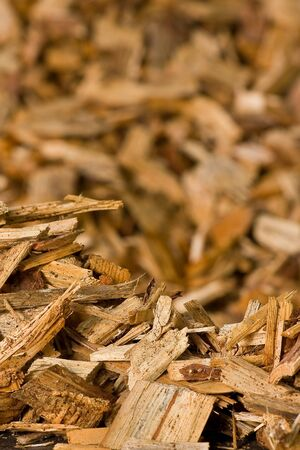 wood pellet: Stacked wood chips for wood chips heating systems Stock Photo
