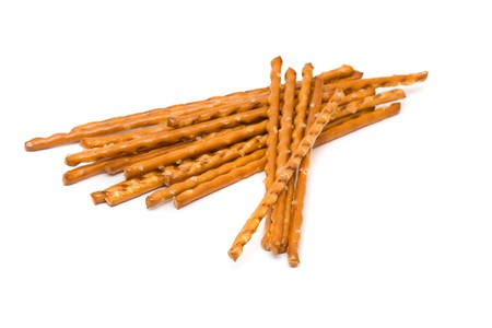 Delicious salted bread stick snack over white background photo