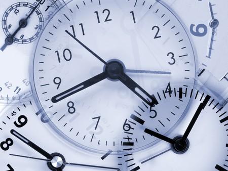 Collage aus verschiedenen Uhren - Konzept der Zeit