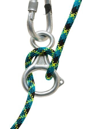 locking: Rapell ring with locking carabiner and rope Stock Photo