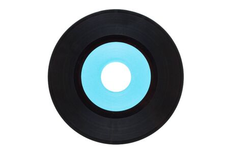 Retro single record with blank cyan label isolated on white background photo