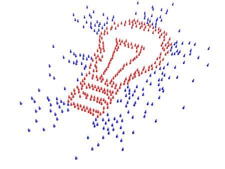 sourcing: Figures forming light bulb symbol - crowd sourcing concept