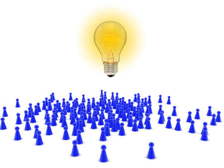 crowd sourcing: Crowd of figures with light bulb - crowd sourcing concept