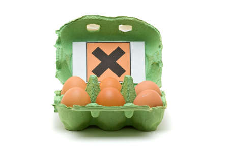 injurious: Pack of six eggs with toxic symbol