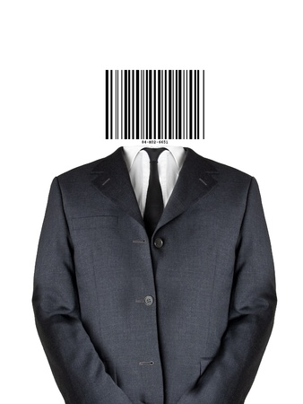 bars code: Business man in suit with bar code instead of his head