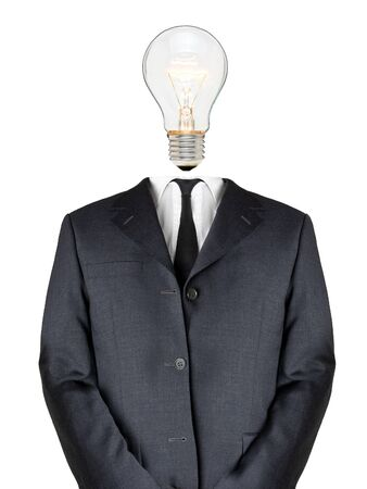 Business man with light bulb head - creativity concept Stock Photo - 8610365