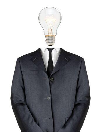 Geschäftsmann mit Glühbirne Kopf - Konzept Kreativität Lizenzfreie Bilder