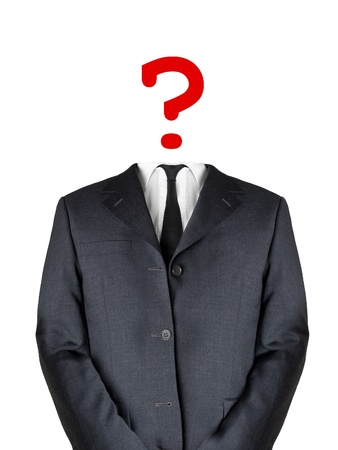 Business man with question mark head photo