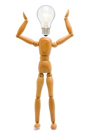 Wooden stick figure with light bulb head - creativity concept Stock Photo - 8610354