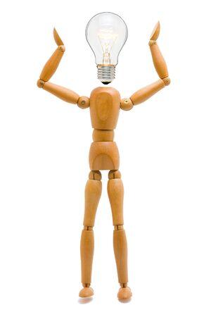 Wooden stick figure with light bulb head - creativity concept Stock Photo - 8610354
