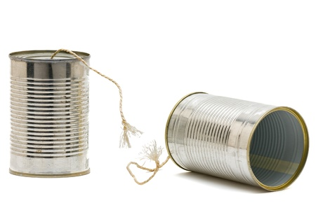 Tin can phone with broken string -  communication issue concept Foto de archivo