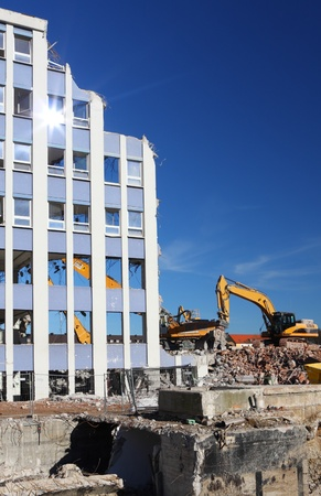 ruination: Demolition of a building at construction site