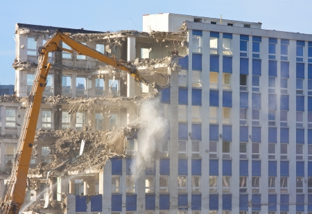 ruined: Demolition of a building at construction site