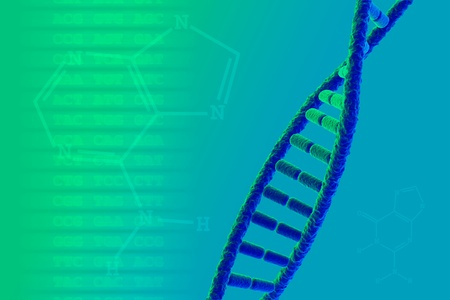 DNA strand with genetic code and base formulas photo