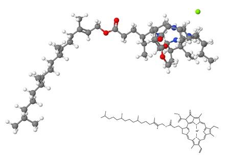 Chlorophyll molecule with chemical formula isolated on white background photo
