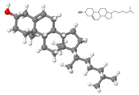 Cholesterin-Molekül mit der chemischen Formel isolated on white background Lizenzfreie Bilder