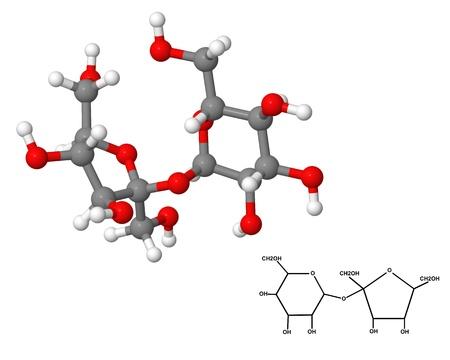 Sucrose molecule with chemical formula isolated on white background photo
