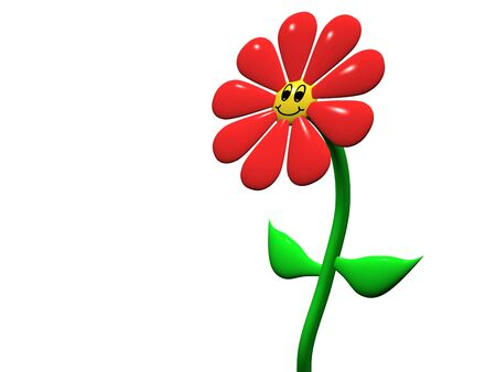 Smiling happy cartoon flower illustration isolated on white background illustration