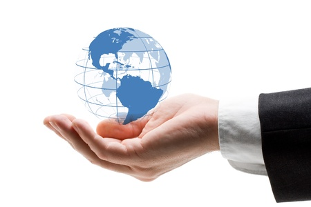 hands holding earth: Hand holding blue globe - global business concept Stock Photo
