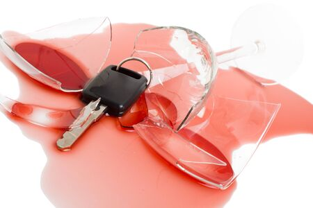 dwi: Car key in red wine - concept for dont drink and drive