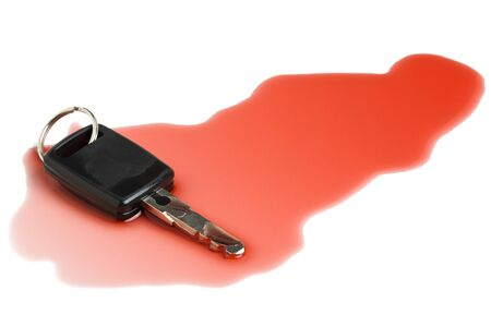 Car key in red wine - concept for dont drink and drive photo