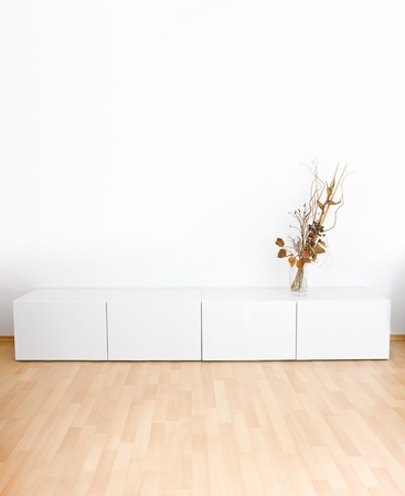Generic modern room with shelves and wooden floor Stock Photo