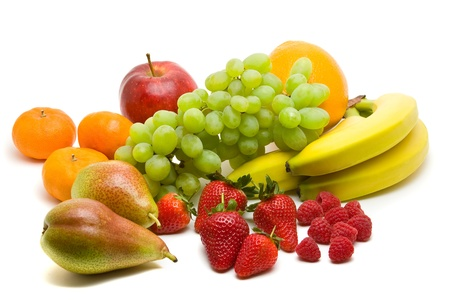 Large collection of different fruits over white background photo