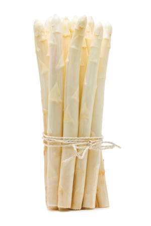 bundle: Fresh cut white asparagus over white background